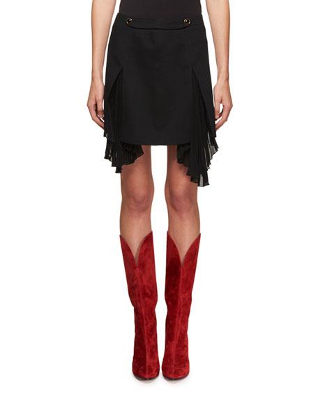 Side-Pleat Wool Mini Skirt