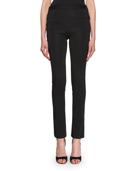 Givenchy Side-Button Boot-Cut Pants