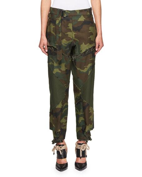 Camouflage Straight-Leg Pants