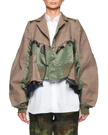 Cropped Glen Plaid & Satin Combo Jacket