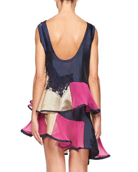 Patchwork Scoop-Back Swing Dress