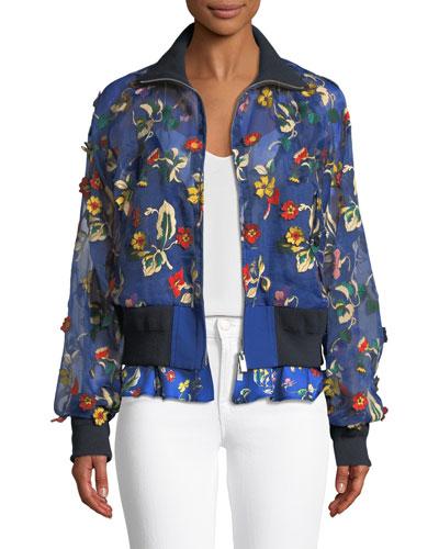 Floral-Applique Zip-Front Organza Bomber Jacket