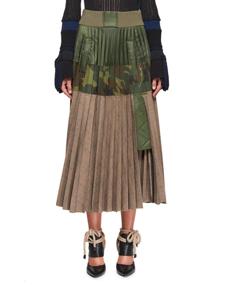 Glen Plaid & Camouflage Combo Skirt