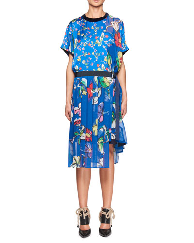 Short-Sleeve Crewneck Floral Satin Dress