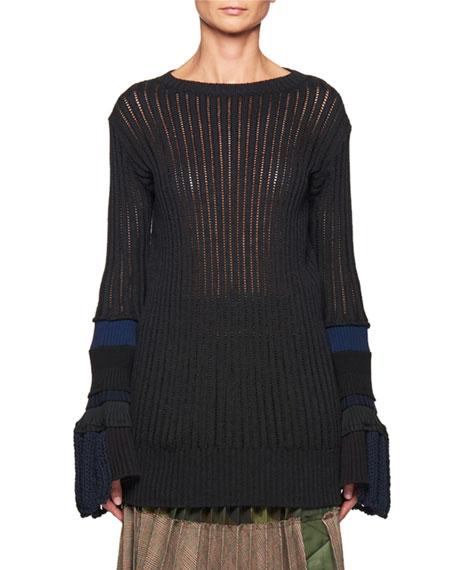 Open-Knit Bell-Sleeve Sweater