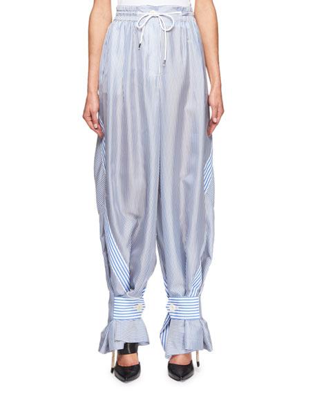Convertible Drawstring Pinstriped Pants