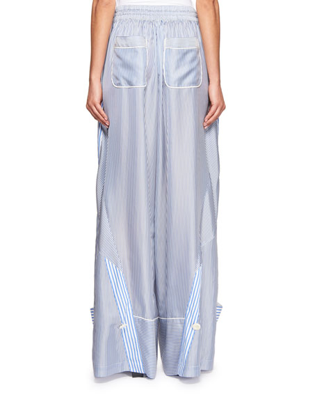 Convertible Drawstring Pinstriped Pants
