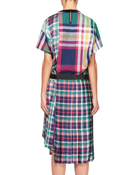 Short-Sleeve Plaid Poplin Midi Dress