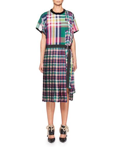 Short-Sleeve Plaid Poplin Midi Dress