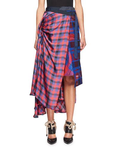 Mixed-Plaid Midi Wrap Skirt