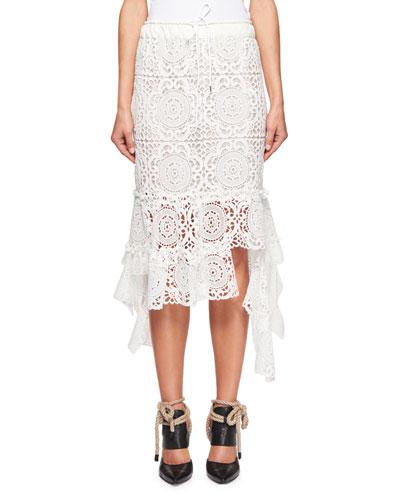 Crocheted Boho Lace Midi Skirt