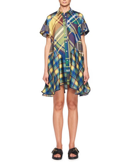 Short-Sleeve Plaid Swing Shirtdress