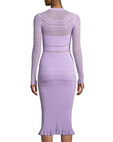 Round-Neck Long-Sleeve Open-Weave Knit Midi Dress