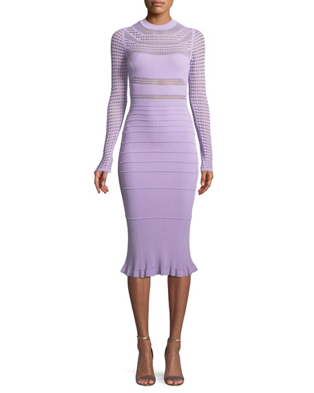 Round Neck Long Sleeve Open Weave Knit Midi Dress by Narciso Rodriguez