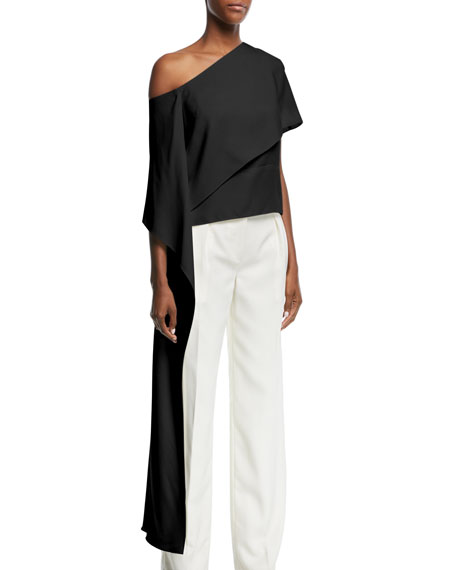 One-Shoulder Silk Satin Blouse with Asymmetric Panel