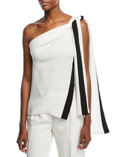 One-Shoulder Silk Blouse with Ribbon Ties