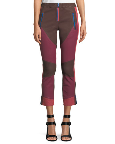 Happy Colorblocked Skinny Leather Pants with Zip-Fly