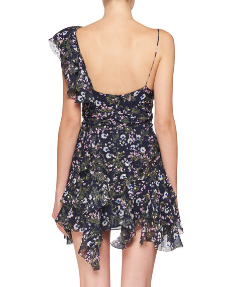 Manda One Ruffle Shoulder Floral-Print Mini Dress