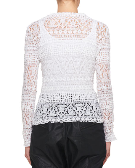 Yulia Long-Sleeve Stretch Lace Sweater