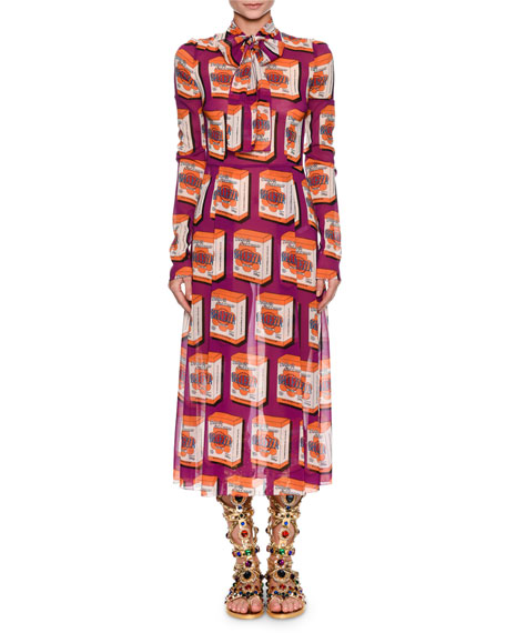 Long-Sleeve Print Midi Dress with Necktie