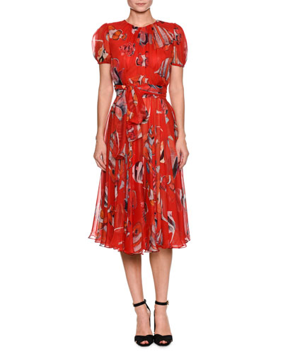 Short-Sleeve Belted Fish-Print Pleated Chiffon Cocktail Dress