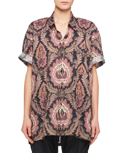 Paisley-Print Button-Front Short-Sleeve Cotton Top
