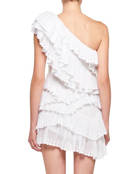 Zeller One-Shoulder Tiered Ruffle Crochet Lace Mini Dress