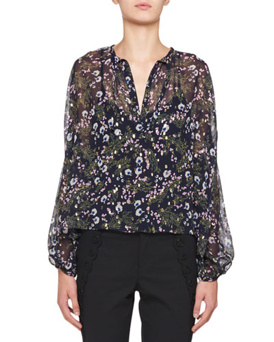 Mia Long-Sleeve Metallic Floral-Print Peasant Blouse