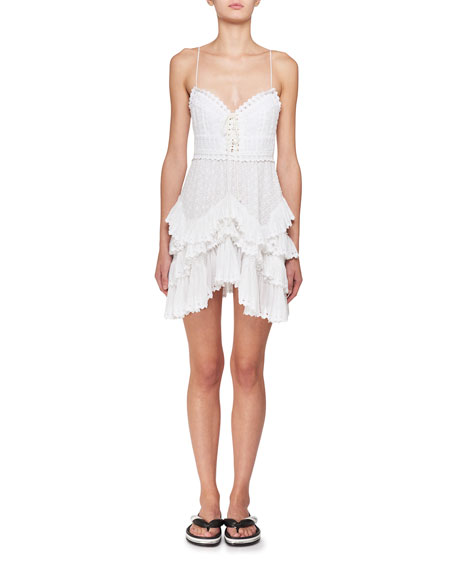 Zowie Deep-V Sleeveless Crochet Lace Mini Dress