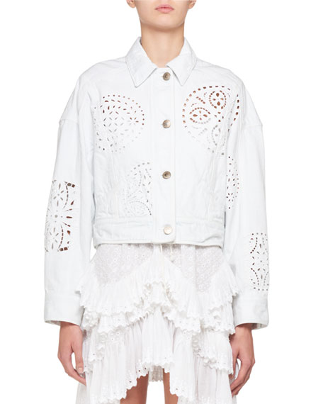 Embroidered Cutout Button-Front Jacket