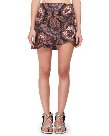 Paisley-Print Ruffle Cotton Mini Skirt