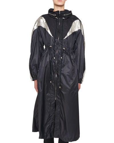 Zip-Front Nylon Floor-Length Trench Coat