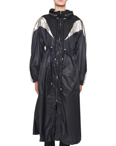 Zip-Front Nylon Floor-Length Trench Coat
