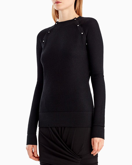 Stud-Trim Merino-Silk Sweater