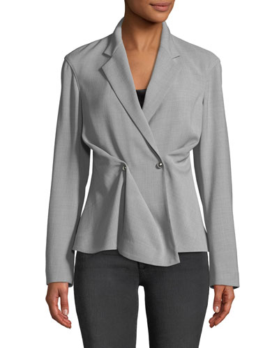Notched-Collar Double-Breasted Wool-Blend Jacket