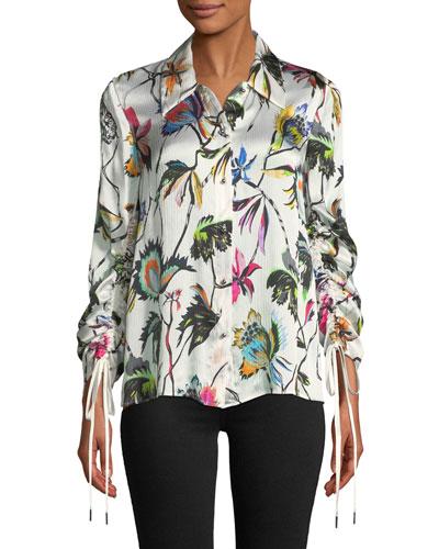 Floral-Print Button-Down Drawstring-Sleeve Silk Blouse