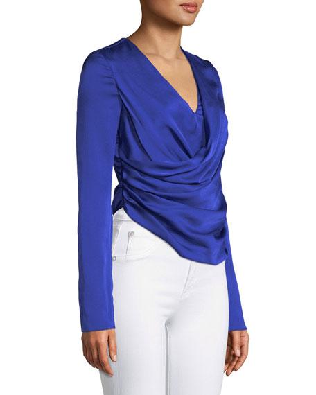 Long-Sleeve V-Neck Silk Satin Wrap Top