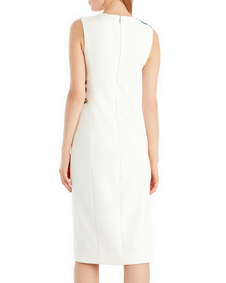 Embroidered Compact Crepe Dress