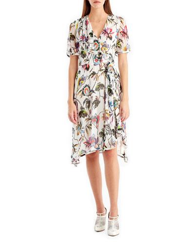 Short-Sleeve Floral-Print Chiffon Dress