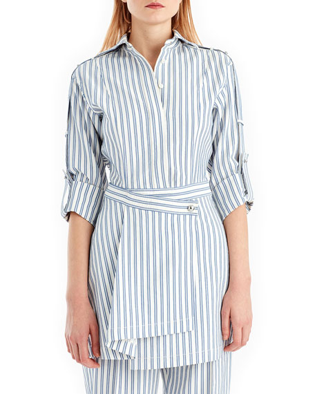 Striped Wrap-Front Shirtdress