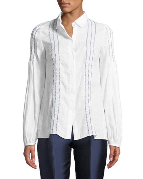 Wight Embroidered Poplin Blouse