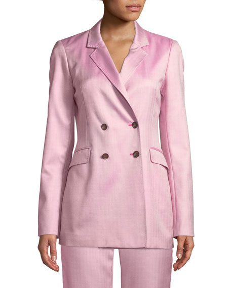 Miles Double-Breasted Silk-Wool Blazer