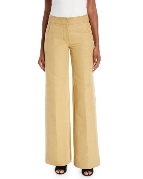 Wide-Leg Cotton Twill Pants