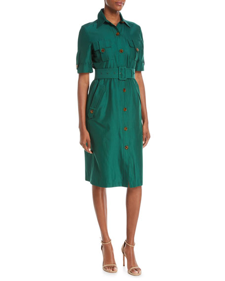 Safari Button-Front Short-Sleeve Belted Shirtdress