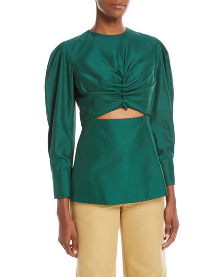 Ruched-Front Long-Sleeve Poplin Top with Cutout
