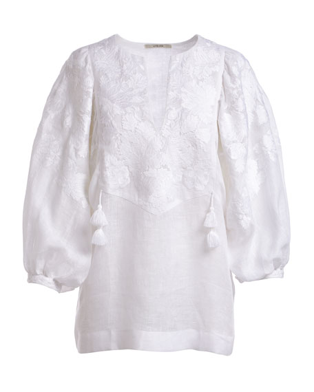 Puff-Sleeve Split-Neck Floral-Embroidered Linen Blouse