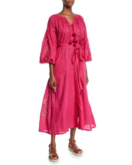 Cherry-Blossom Blouson-Sleeve Tassel-Tie Long Linen Dress