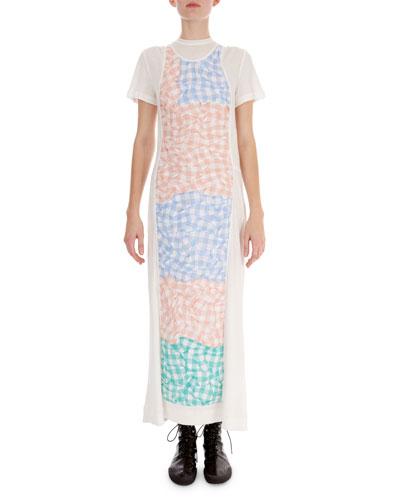 Short-Sleeve Gingham-Paneled Dress