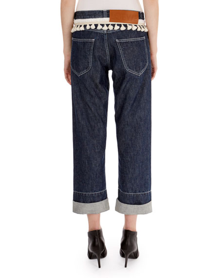Rope-Trim Cuffed Denim Jeans