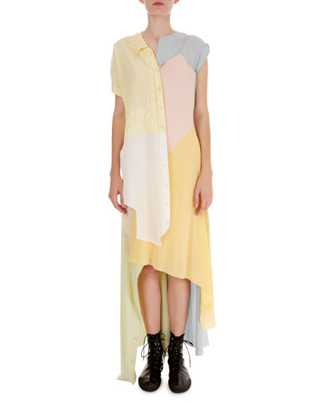 Asymmetric Patchwork Midi Dress
